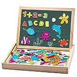 Uping Puzzle de Madera Magnético | Puzzle de 90 Piezas + Número de 40 Piezas y Alfabeto | Tablero de Dibujo de Doble Cara Magnético, Juguete Educativo | para niños de 3 años+