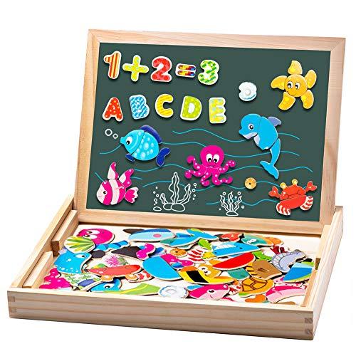 Uping Puzzle de Madera Magnético | Puzzle de 90 Piezas + Número de 40 Piezas y Alfabeto | Tablero...