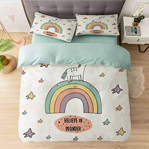 3 Pieces Duvet Cover Set King, Hand Drawn Rainbow with Doodle Stars and Believe in Wonde, 3 Pieces Comforter Qulit Cover Ultra Soft Lightweight Simple Style(1 Duvet Cover + 2 Pillow Shams)