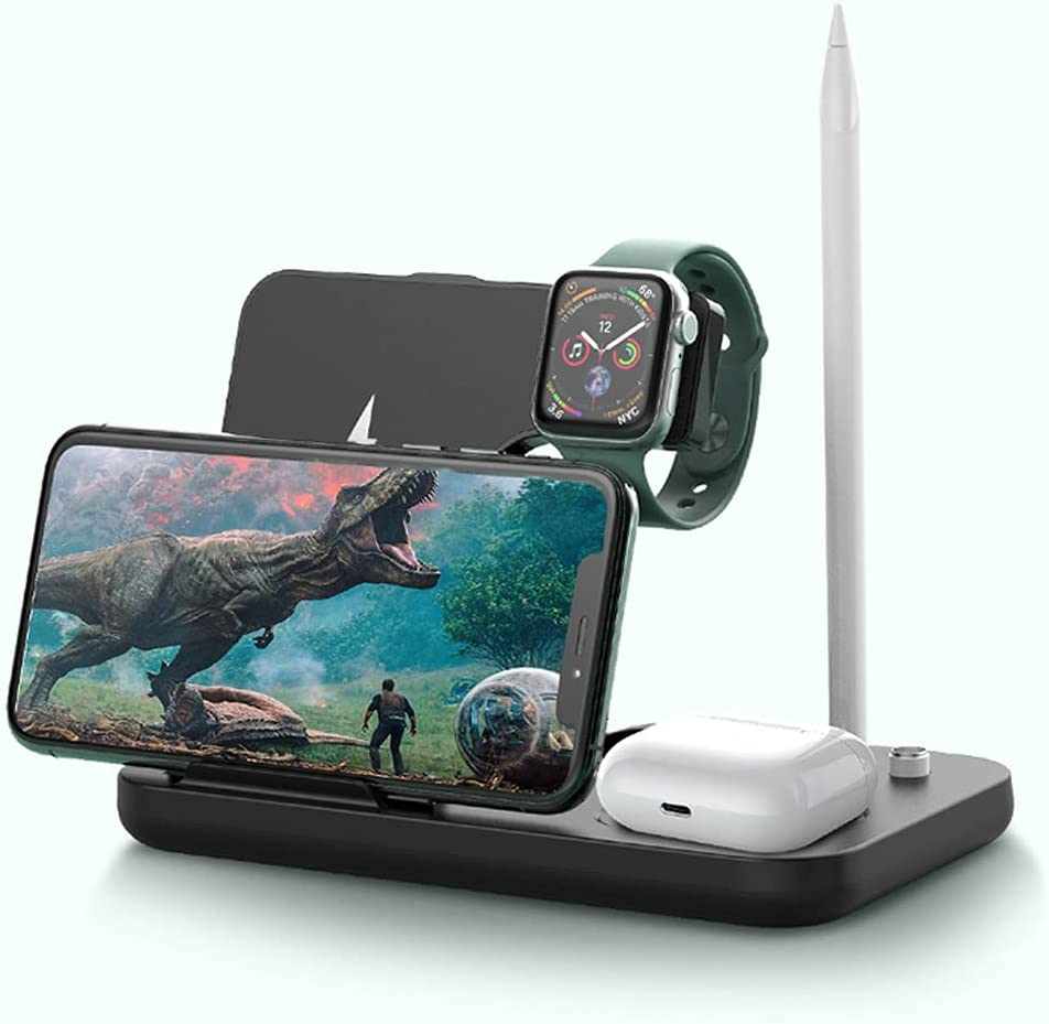 Wireless Charger, Jonwelsy 4 in 1 Fast Charging Station, Qi Fast Charging Stand/Dock for Apple Watch Series 4/3/2/1, Pencil, AirPods 2/Pro, iPhone/12/12 Pro/11/SE/X/XR/XS/XS Max/8 Plus