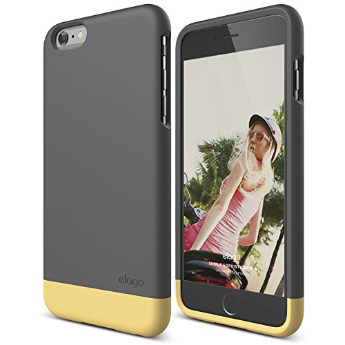 elago iPhone 6 Plus Case, [Glide][Dark Grey/Creamy Yellow] - [Mix and Match][Premium Armor][True Fit] - for iPhone 6 Plus Only