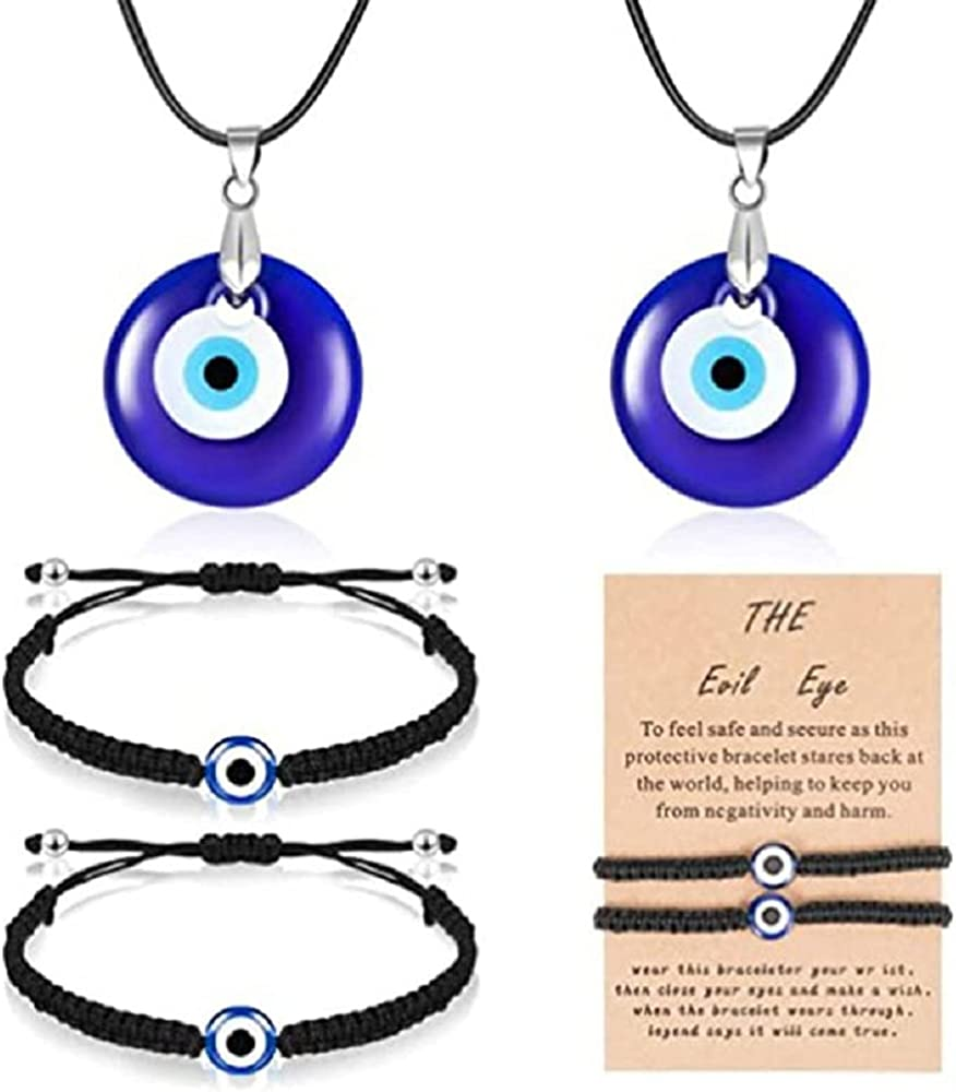 2Pairs Turkish Evil Eye Pendant and Bracelet Jewelry Set, 2 Amulet Lucky Bracelets with Cards and 2 Evil Eye Pendant for Women Men