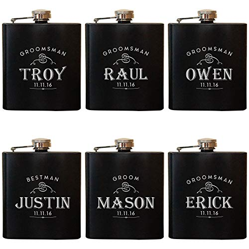Groomsman Gifts for Wedding Favor & Proposal Box - 9 Premium Custom Design Option - Personalized Flask (Set of 6) - Great Ideas for Groomsmen, Best Man - Engraved by Froolu