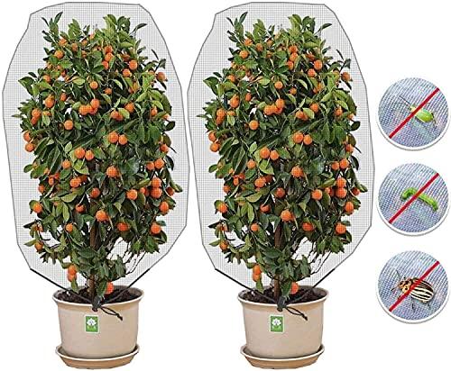 Pflanzenschutznetz, 2 Pack Insektenschutznetz mit Kordelzug - Schutznetz Pflanzen für Schädlinge, Gartennetz Insektennetz (Größe 1* 1.5m/Maschenweite 0.8 mm)