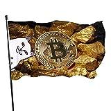 Coinjolt Bitcoin Gold Cover Bandera de jardín Bandera de interior y exterior 3 x 5 pies, Banderas de playa duraderas y resistentes a la decoloración con encabezado, Fácil de usar