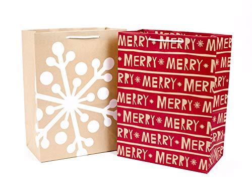 Hallmark 12' Large Christmas Gift Bags (Pack of 2; Red Merry, Kraft Snowflake)