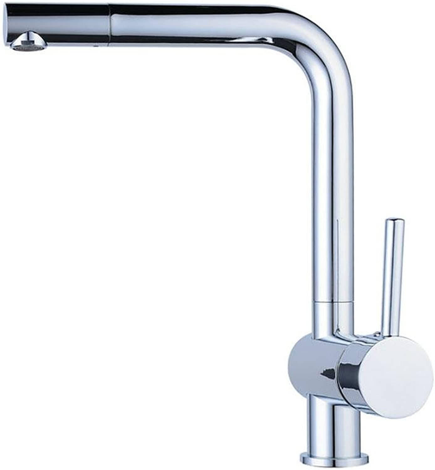 PLYY Contemporary Brass Kitchen Single Handle Single Hole Mixer Taps 360 Degree Deck Mounted Hot & Cold Ceramic Cartridge Sink Faucet Polished Chrome