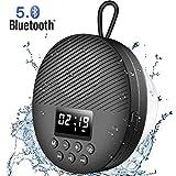 AGPTEK Enceinte Bluetooth 5.0 Portable, Radio de Douche Haut-Parleur Etanche IPX5 avec Ventouse et Lanière,LCD, Basse HD, Autonomie 10-12H, Appels Mains Libres sans Fil Compatible avec iOS/Android