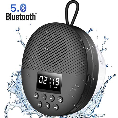 Shower Radio Speaker with Bluetooth 50 AGPTEK Waterproof Wireless Bathroom FM with LCD Screen Display 12H Playback Time Handsfree Calling SD Card Playback Suction Cup Black