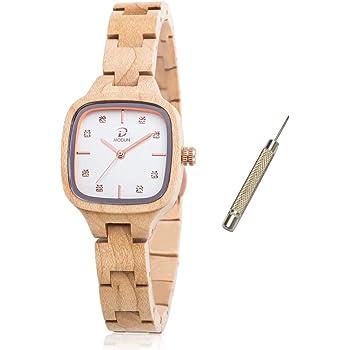 木製腕時計-MODUN レディース腕時計 、100%手作クオーツ 軽量 天然木腕時計、自然 シンプル ファッション人気女性贈り物 調節可能なブレスレット天然木製腕時計付きギフトボックス(カエデの木)