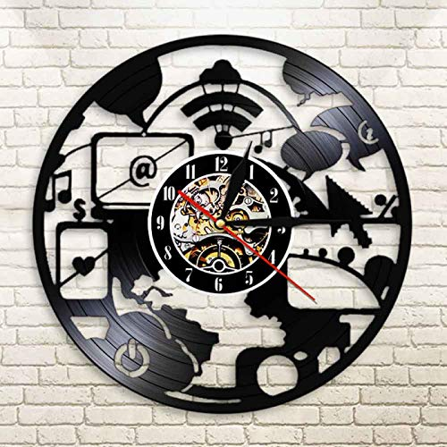 YINU diseño Moderno Chic It Ordenador de Larga duración Registro Reloj de Pared Ingenieros decoración de Oficina luz de Noche Led Cyberschool Geek Nerd Regalo