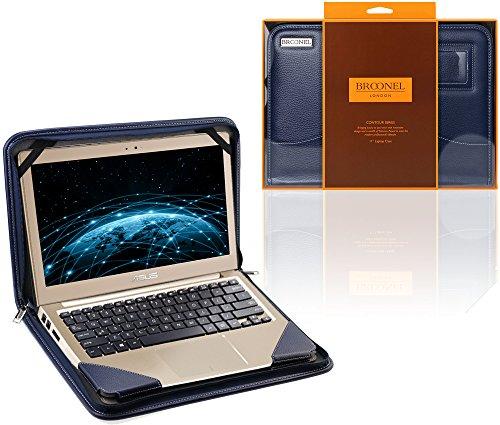Navitech Broonel - Contour Series - Cuir végétalien Bleu Housse de Protection Compatible avec ASUS Zenbook UX310 / ASUS Zenbook UX330