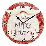Jacque Dusk Reloj de Pared Moderno,Navidad Santa Claus Copo De Nieve,Grandes Decorativos Silencioso Reloj de Cuarzo de Redondo No-Ticking para Sala de Estar,25cm diámetro