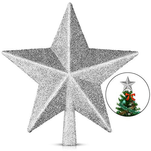 EAONE 1 Pack 6' Star Christmas Tree Topper, Silver Glittered Christmas Tree Decoration for Party Home Decor