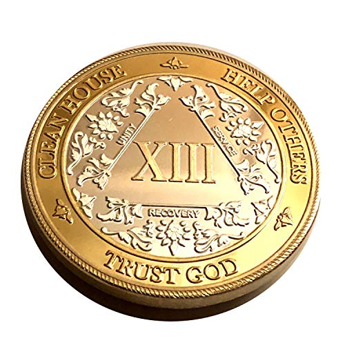 MyRecoveryStore Silver&Gold 1-50 Years Alcoholics Anonymous Medallion AA Coin Capsule Included (Year 13)