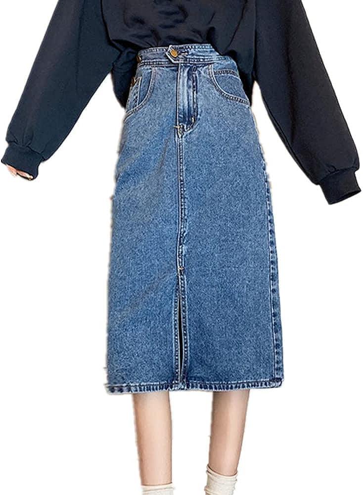 NP Skirt high Waist A-line Denim Skirt Spring Women's Leisure Medium Length Skirt Autumn
