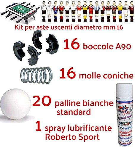 Renzline by Longoni Calcio Balilla ricambi Kit con 16 boccole e 16 Molle per aste uscenti Diametro mm.16, 20 Palline Bianche Standard e Una Confezione lubrificante Spray Roberto Sport.