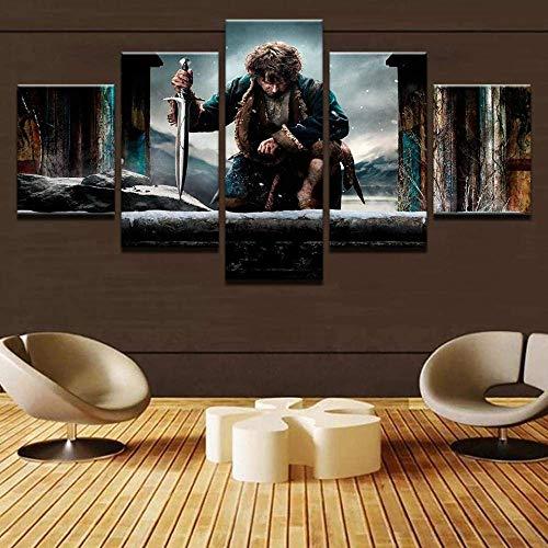 Cuadros Pinturas sobre Lienzo 5 Piezas El Hobbit Bilbo Baggins Lienzo Grande Arte de Pared 5 Paneles Decoración Moderna Obra de Arte Regalo Creativo