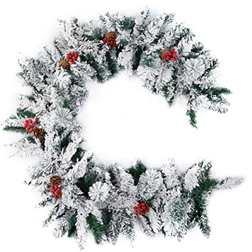 Littleduck 9ft Christmas Decorated Garland Decoration for Stairs Fireplace Snow Flocked with Pine Cones and Berries Artificial Xmas Garland Wreath (270CM)