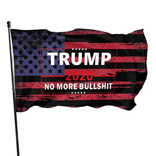 Oaqueen Fahne Flagge Trump 2020 No More Bullshit 3x5 Feet Fahne Flagge Tough Durable Indoor/Outdoor All Weather Polyester Fahne Flagge Fade Resistant Office Fahne Flagge