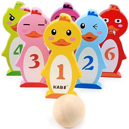 ADLIN Kinder Bowling Innen Skittles Spiel Kinder Bowling-Spiel im Freien Partei-Spielzeug-Set mit 2 Bälle und 10 Pins Lustige Geschenke for Kinder Jungen Mädchen 3 4 5 Jahre alt