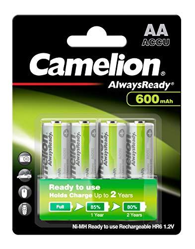Camelion NH-AA600ARBP4 Ni-MH Akku HR6/AA/Mignon, 600mAh, 4er-Pack chrom
