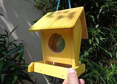 Futterhaus BTV-VOFU1K-gelb001 PREMIUM Vogelhaus Futterstation hell gelbzitronengelb neon neongelb, als Ergänzung zum Meisen Nistkasten Meisenkasten oder zum Insektenhotel, Futterstationen für Vögel, Vogelhäuschen / Vogelvilla zum Hängen und zum Aufstellen von BTV