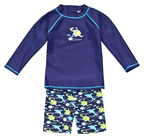 Landora®: Baby- / Kleinkinder-Badebekleidung langärmliges 2er Set Marineblau; in Größe 98/104