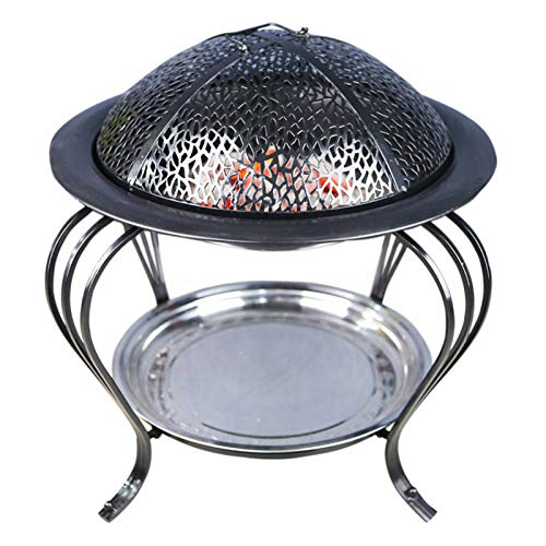 SHFAMHS Fire Pit, Outdoor Wood Burning BBQ Grill Steel Firepit Bowl with Spark Screen Cover, Poker for Camping Beach Bonfire Picnic Backyard Garden