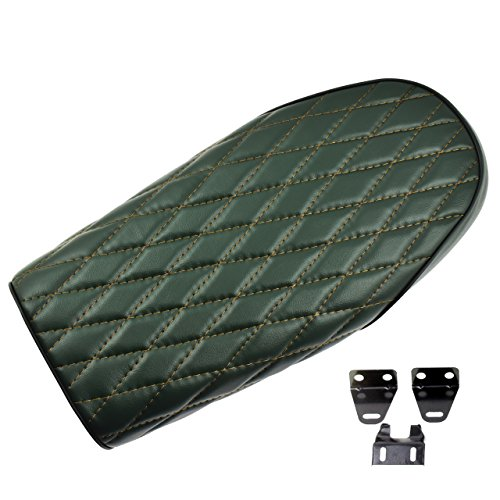 YHMTIVTU Vintage Diamond Stitch Cafe Racer Seat for Honda CB CL Yamaha SR XJ Suzuki GS Retro Flat Brat Bike Frame,Green