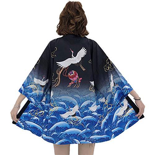 G-LIKE Kimono Giapponese Vestiti Estivi - Tradizionale tessuto di piume Haori Tradizionale Giacca Sovraccarica Giacca Antica Camicia da notte accappatoio per Donna Uomo, Blu, taglia unica