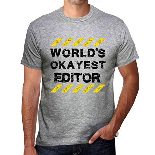 One in the City Hombre Camiseta Gráfico T-Shirt Worlds Okayest Editor Gris Moteado