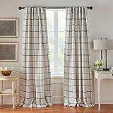Elrene Home Fashions Brighton Windowpane Plaid Grid Blackout Window Curtain Panels/Drapes for Living, Bedroom, Dining Room, 52'x84' (1, Indigo