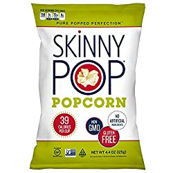 SkinnyPop Original Popped Popcorn, Vegan, Gluten-free, Non-GMO, 4.4oz Grocery Sized Bag