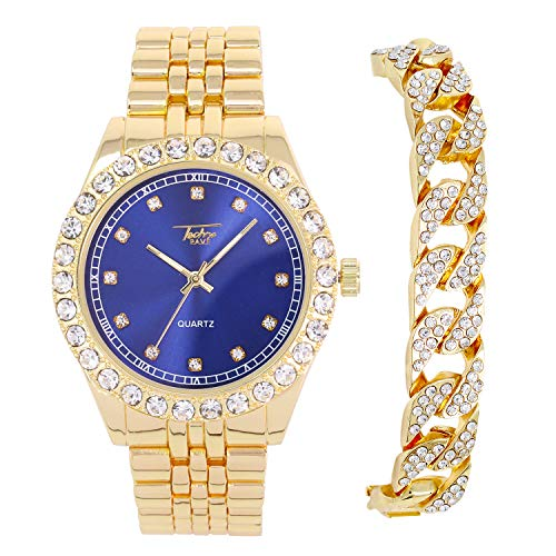 Men's 44mm Gold Metal Band Watch with CZ Simulated Solitaire Bezel (Blue Dial) with Cuban Bracelet