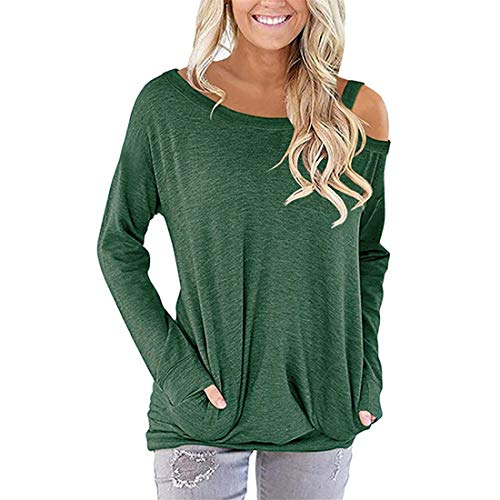 Shirt Women Elegant Sexy Solid Color Off Shoulder Long Sleeve Pockets Loose Casual Comfortable Classic All-Match Sweatshirt T Shirt Fitness Jogging Hiking Christmas Party Blouse Top XL