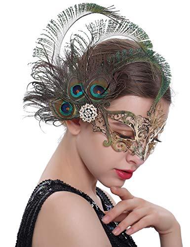 Coucoland Damen 1920s Metall Maskerade Maske Venezianische Maske mit Feder Strass Damen Halloween Verkleidung Kostüm Karneval Fasching Haar Accessoires (Gold)