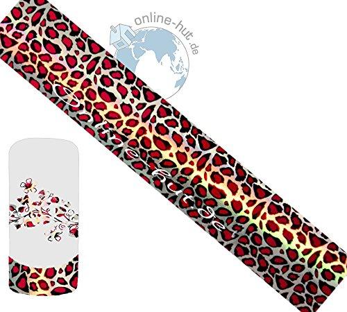 Transferfolie Leopard-Rot-Hintergrund Silber-Schimmer Hologramm