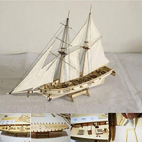 Pawaca DIY Kit Modellino Nave da Costruire Legno, Modellino Barca a Vela da Costruire Decorazione, Modellino Navi in Legno Regalo Giocattolo per Bambini e Adulti - 1: 130 [ 300x400mm ]