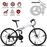 Bikes Bicicleta Montaña Hit 26', 21 Velocidades, Doble Freno Disco, Full Suspension,para Hombres, Montar al Aire Libre, Adulto/Blanco
