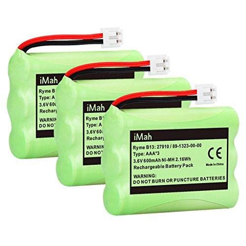 iMah 89-1323-00-00 Battery Pack Compatible with AT&T 27910 Motorola SD-7501 Vtech I6725 RadioShack 23-959 23-894 Cordless Phone 3.6V Ni-MH, 3-Pack