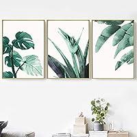 壁アートキャンバス絵画水彩緑熱帯の葉植物スカンジナビアのポスターとプリント寝室の装飾のための壁の写真-50x60cmフレームなし