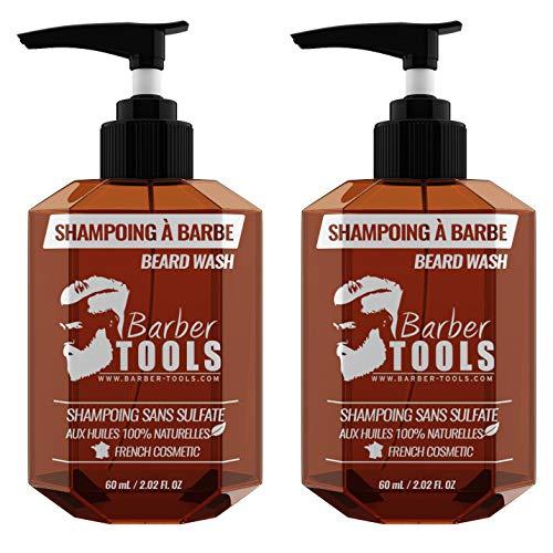 Shampoo per barba SENZA SOLFATO per barba - 120ml (2X60ml) a base di Olio di Argan e Olio di Jojoba | Per la manutenzione e la cura della barba - MADE IN FRANCE ✮...
