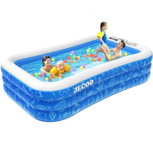 Inflatable Swimming Pool,118  X 72  X 22  Full-Size FamilyBlow UpKiddie Pool for Kids, Adults,Toddlers,Garden, Outdoorwith BackyardSummer Swim Centerfor Ages 3+
