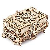 Joyero de Madera Corte láser Creativo Rompecabezas 3D Transmisión mecánica de Madera Joyero Antiguo s ensamblados Regalo, A, Caja Antigua