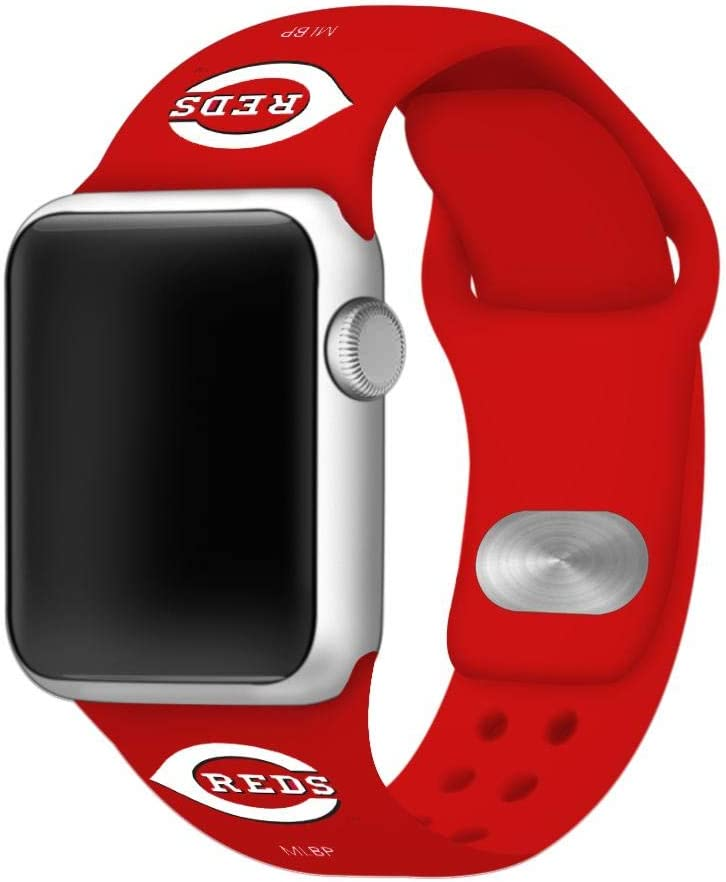 Cincinnati Reds Silicone Sport Watch Band Compatible with Apple Watch (42mm/44mm - Red)