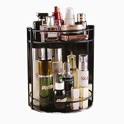 GOCF Caja de Almacenamiento de acrílico de Organizador Escritorio giratoria Estante for tocador cosmética Caja de Almacenamiento para la cómoda (Color : Black, Size : One Size)