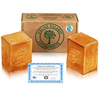 Grüne Valerie® Jabón de Alepo Original en Set 2 x 200g + 20/80% Aceite de Laurel/Aceite de Oliva - Jabón de Champú PH Value 8, Producto Natural Vegano - hecho a mano - ¡más de 6 años de maduración!