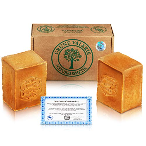 Savon d'Alep Grüne Valerie® Original Set 2 x 200g (400g) avec 20%/80% d'huile de laurier/huile d'olive, valeur PH 8 Detox, fait a la main,mûri pendant 6 ans!