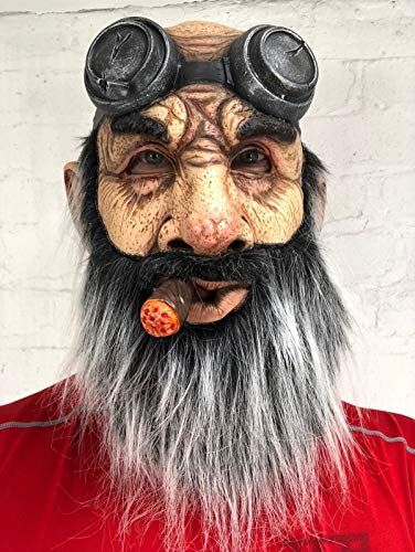 Rubber Johnnies , Mscara para motociclista, hombre viejo, barba gris, mscara de Harley de cara completa, para adultos, talla nica, gafas de motociclista, bandera americana, Halloween